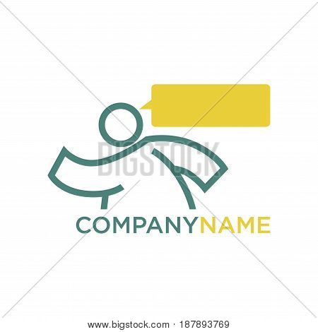 Vector illustration of logo with walking person and think cloud isolated on white.