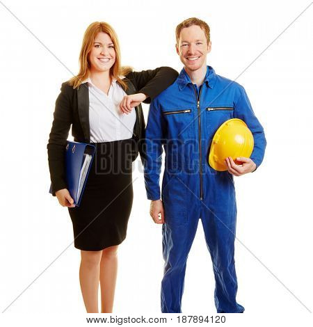 Business team of a businesswoman and a worker as a team work concept