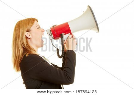 Businesswoman screaming on a megaphone on a white background