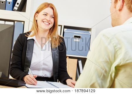 Applicant in a job interview with interviewer