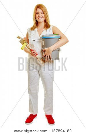 Woman as a craftsman with renovation tools