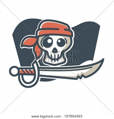 Vector illustration of skull in bandana with saber on black flag isolated on white.