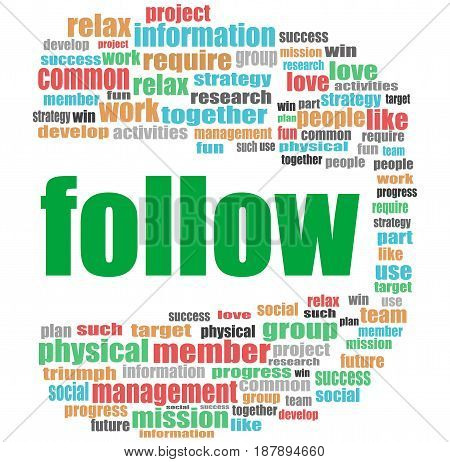 Social Media Concept. Word Follow . Word Cloud Collage