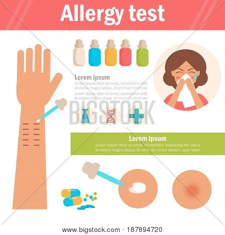 Allergy test. Arm, pipette, woman blows her nose. Isolated art on white background. Vector. Cartoon. Flat. For websites brochures magazines Medicine