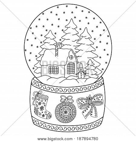 Toy glass snow globe with house. Coloring book page for adults and children. Winter decorative pattern - house, snow, christmas trees, snowman, bow, ball, stocking.