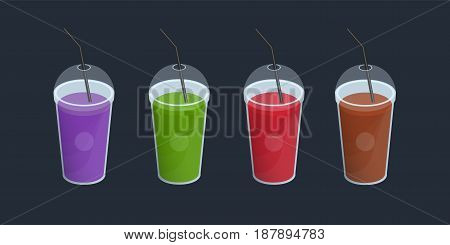 Set of different smoothies in plastic cup with lid and straws. Drinks, cocktails, beverage of orange, purple, green, red color. Vector colorful collection on black background