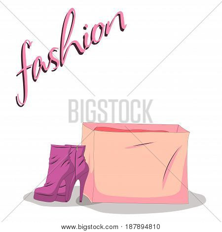 Fashionable woman s shoes and bag pink color and fashion handwritten sing. Vector design elements isolated on white