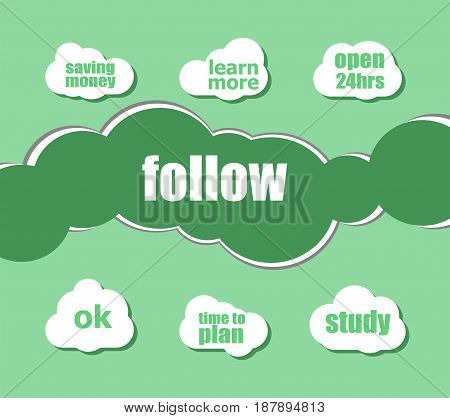 Social Media Concept. Word Follow . Infographic Business For Graphic Or Web Design Layout