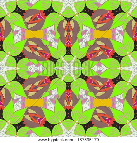 Varicolored vector seamless illustration. Tropical seamless pattern with many blue abstract flowers.