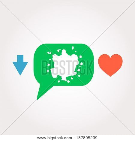 Blots. Abstract Symbol . Speech Clouds Stickers, Arrow And Heart