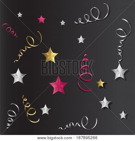 Tinsel and stars set for cards and gift paper. Black and colored