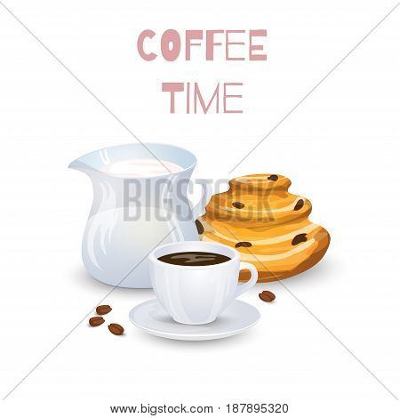 Coffee drink milk jug and bun on a white background