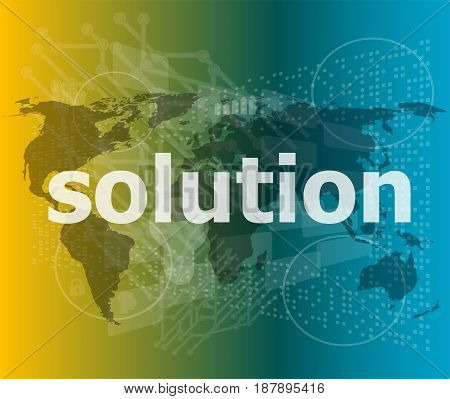 The Word Solution On Digital Screen, Business Concept