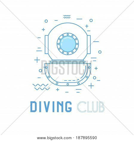 Scuba Diving Line Art Illustration.