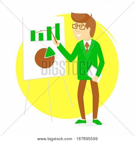 Presentation With  Businessman And Board With Graphs
