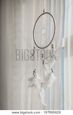 Close Up Of Dream Catcher On Meadow Background