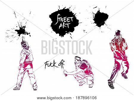 Set graffiti art. Artists signs and splashes. Collection street art elements.