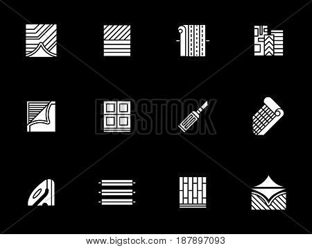 Materials and equipment for construction and flooring. Linoleum floor covering services. Symbolic white glyph style vector icons set on black.