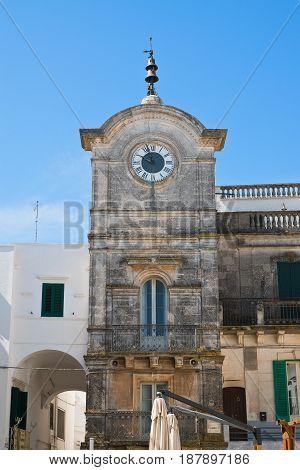 Detail of the Clocktower of Cisternino. Puglia. Italy.