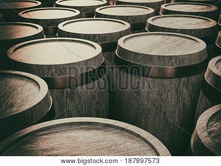 vintage vine barrels in a stock 3d illustration