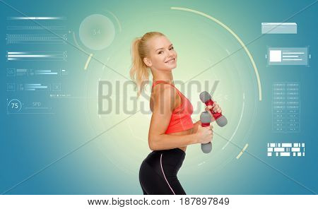 fitness, sport, people and training concept - happy young sporty woman exercising with light dumbbells over blue background