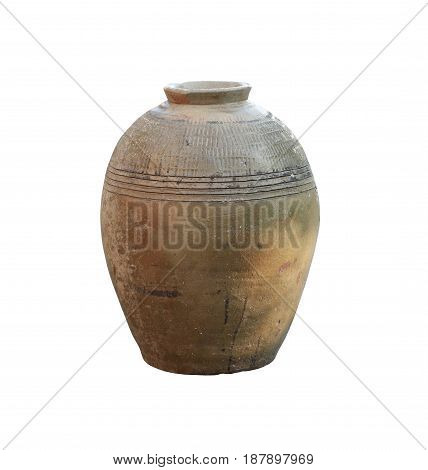 Traditional jar of earthenware isolated on white background and have clipping paths to easy deployment.