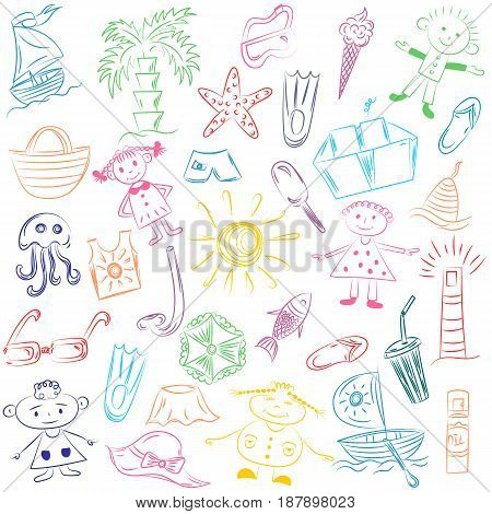 Colorful Hand Drawings of Summer Vacancies Symbols. Doodle Boats Ice cream Palms Hat Umbrella Jellyfish Cocktail Sun and Kids. Vector Illustration.