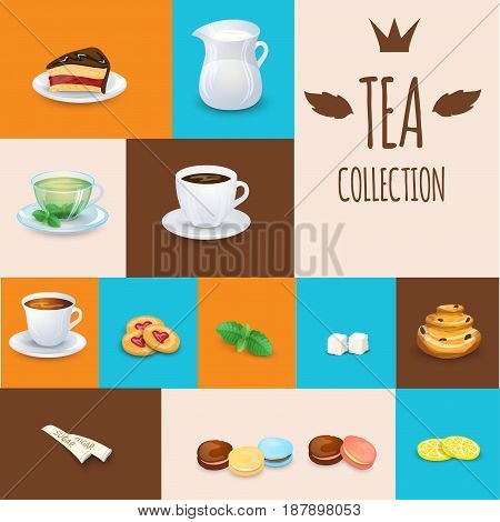 Set of tea drinks sweets and bakery products. Some different illustrations