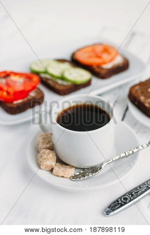 Wholesome Breakfast With Vegetarian Sandwiches And Coffee