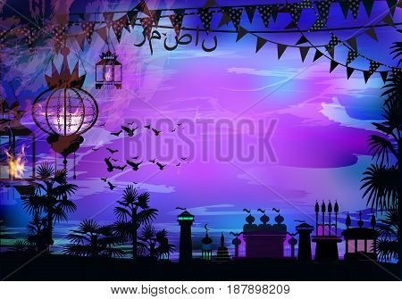Ramadan. A lantern on a tree. Light in the night sky. sunset. Purple background. Sunset religion September.Transla tion of the text from Arabic: Ramadan . Palm trees - tropics with birds and flags.
