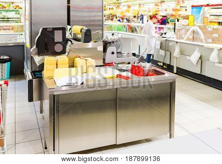 Samara Russia - May 9 2016: Retail store equipment at the supermarket Magnit. One of the largest retailer in Russia