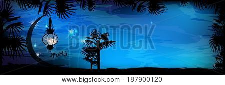 Ramadan. Religion September Islam. Translation of the text from Arabic: Ramadan . A blue sky and a palm tree silhouette with a month on which a fiery flashlight glows. The concept of fasting.