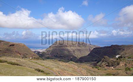 North of Gran Canaria municipality Santa Maria de Guia eroded old mountain Montana de Guia center