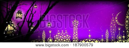 Ramadan. A lantern on a tree a lot. Light in the night sky. sunset. Purple background. Religion September Islam. Translation of the text from Arabic: Ramadan . City of stars. The mosque.