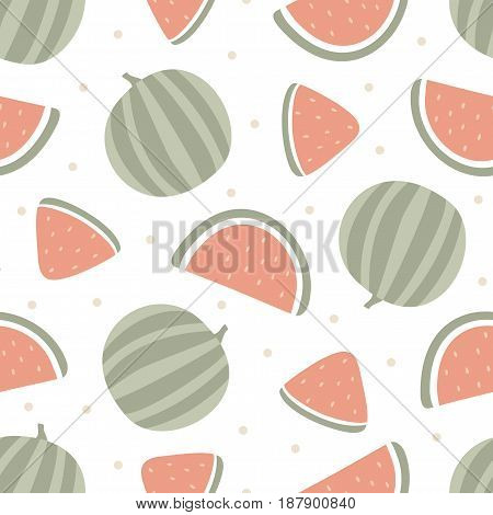 Watermelon seamless pattern isolated on white background. Vector illustration