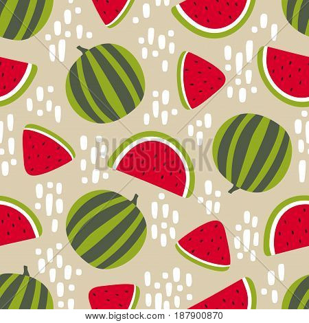 Watermelon seamless pattern with stains isolated on beige background. Vector illustration