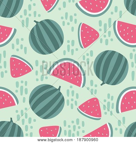 Watermelon seamless pattern with stains isolated on green background. Vector illustration