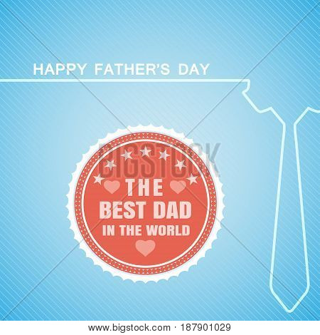 Happy Father's Day vector poster with red label tie silhouette on the gradient blue background with line pattern.