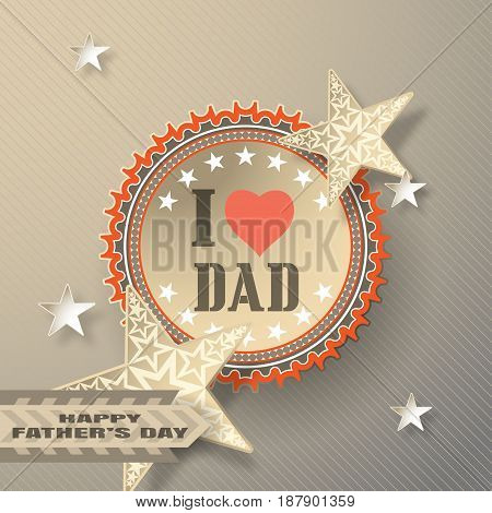 Greeting brown vector card in the form of paper applications for Father's Day with label star shapes striped ribbon on the gradient background with line pattern.