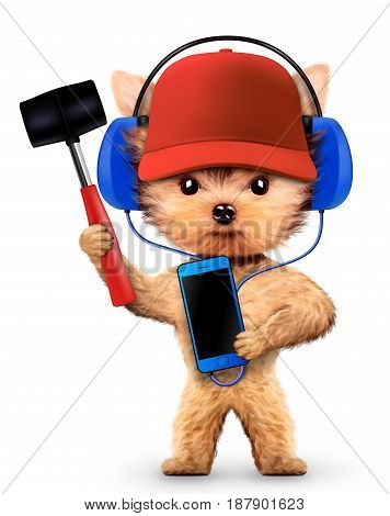 Funny dog in basebal cap with hammer isolated on white background. Constructor and handyman concept. 3D illustration with clipping path