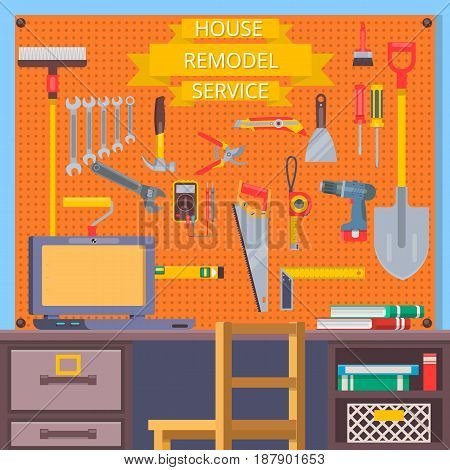 House remodel tools. Construction concept with flat icons .Vector illustration