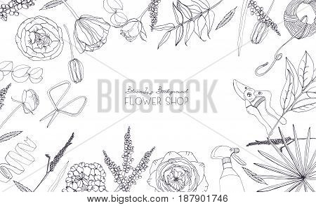 Horizontal background with flowers for advertising, floral shop, salon. Hand drawn monochrome composition with place for text.