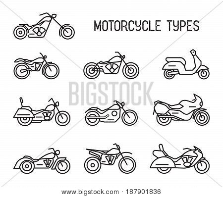 Set of different types of mototechnics. Motorcycles and mopeds, lineart icons. Collection black and white vector illustrations isolated on white background