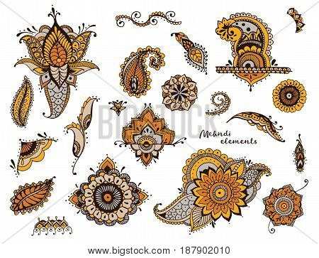 Set of hand drawn different mehndi elements. Stylized flowers, florals, leaves, indian paisley collection. Colorful ethnic illustration