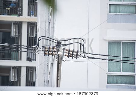 Electricity distribution transformer with cooling ribs in Metal background