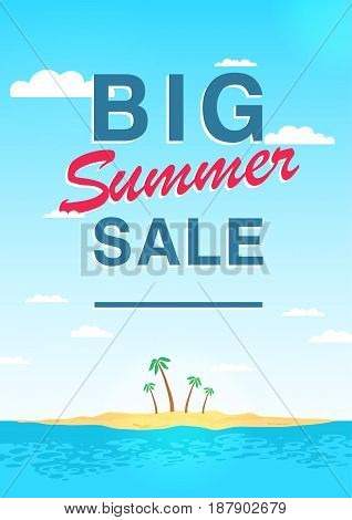 Vertical poster on big summer sale theme. Bright promotional flyer with sky, sea, island and palm trees. Colorful advertising vector illustration with lettering