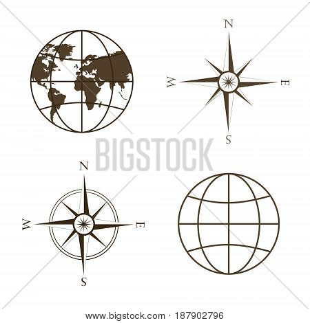 Symbols of global technology, international associations, travel, expeditions and ect. Vector illustration of globe, wind rose, compass. Square location. Image in brown tones.