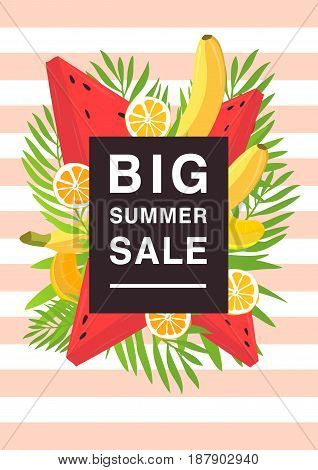 Vertical poster on big summer sale theme. Bright promotional flyer with different fruits and palm leaves. Colorful advertising vector illustration on a striped background