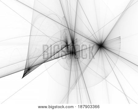 Spiral trajectories in space dark matter and energy black and white abstract texture 3D rendering