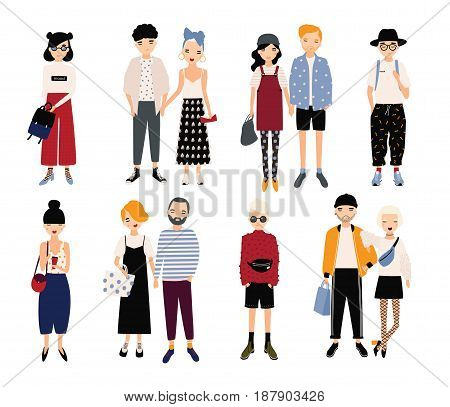 Set of stylish young people and love couples. Different guys and girls in fashionable clothes, accessories. Colorful vector illustration in cartoon style